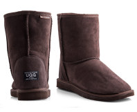Australian Leather Short Classic Ugg Boots - Chocolate
