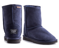 Australian Leather Short Classic Ugg Boots- Navy
