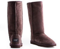 Australian Leather Long Classic Ugg Boots - Chocolate