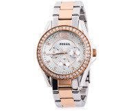Fossil Women's Two-Tone Riley Watch - Silver/Rose Gold