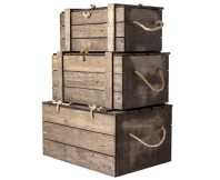 Crate-Style Wooden Lidded Boxes 3-Piece Set