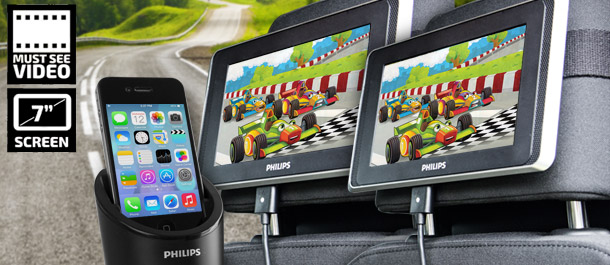 "Philips 7"" Dual Screen LCD In-Car System"