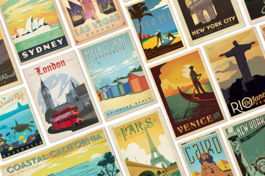 Vintage-Inspired Around The World Posters
