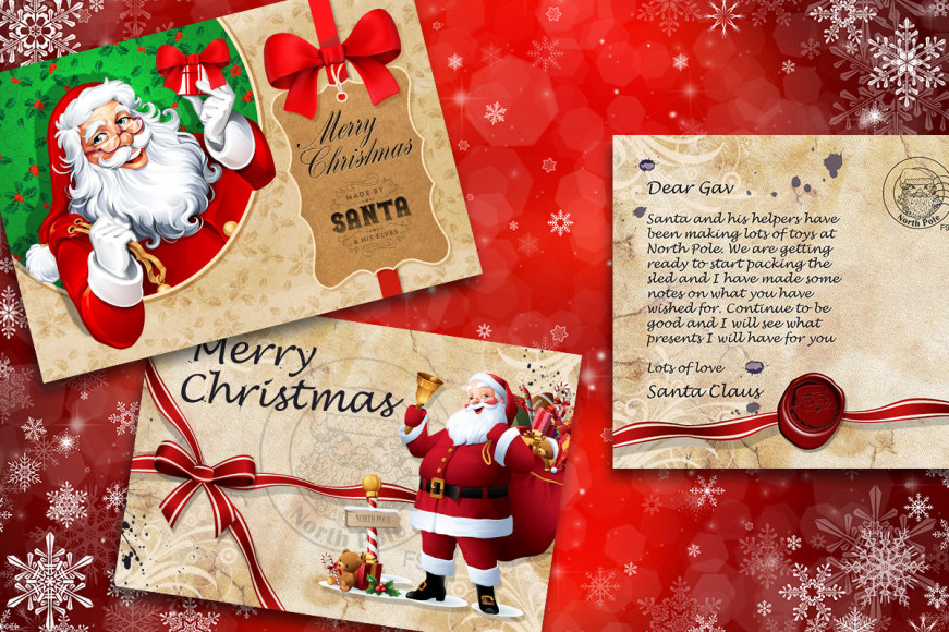 Personalised Kids' 10 x 15cm Santa Postcard