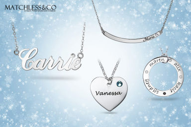 Personalised Engraved Birthstone Ring and Pendants