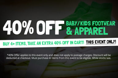 KIDS, BABY FOOTWEAR & APPAREL SALE: Buy 4+ Items, Take An Extra 40% Off In Cart!