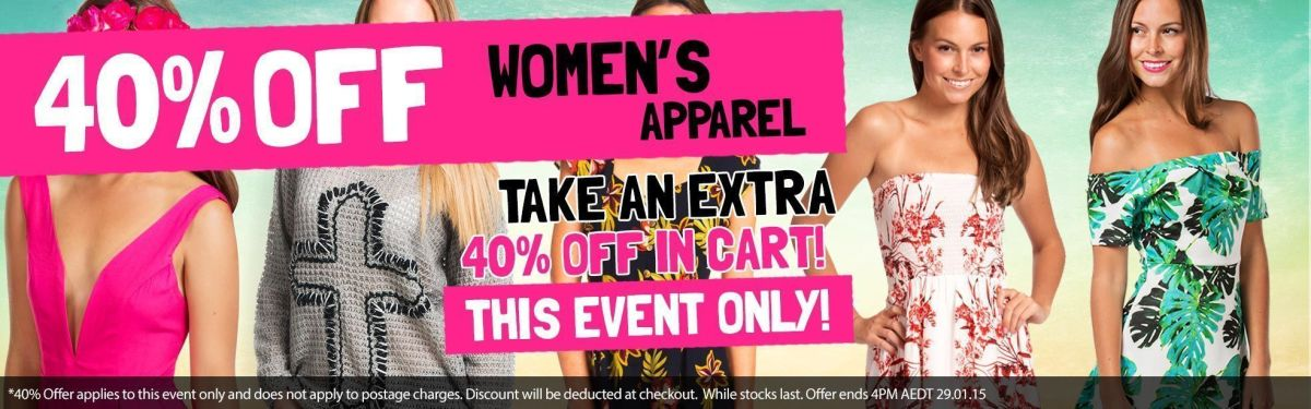 Women's Apparel: Take An Extra 40% Off In Cart!