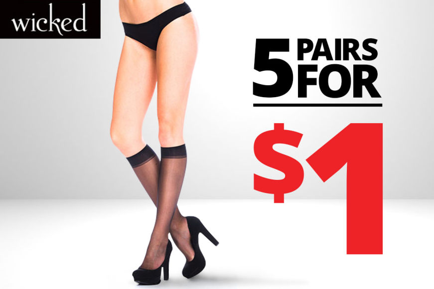 Wicked Knee High Stockings: 5 Pairs For $1