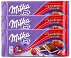 3 x Milka Strawberry Yoghurt Milk Chocolate Block 100g 1
