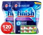 2 x Finish Quantum Max Shine & Protect Dishwashing Tabs Apple Lime Blast 60pk 1