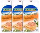 3 x John West Lunch Kit Tuna + Sweet Chilli Mayo With Crackers 108g 4