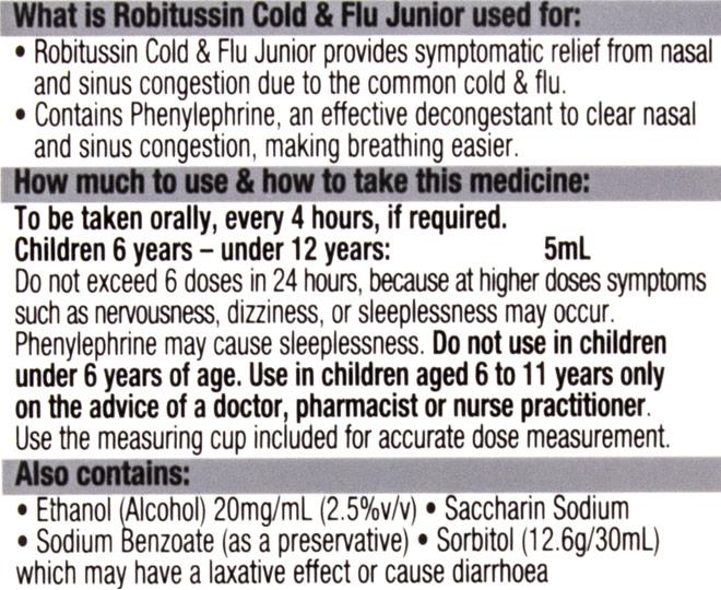 robitussin cold & flu junior 146790 pdf