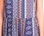 Summer Women's Lace Tribal Playsuit - Navy/Orange  5