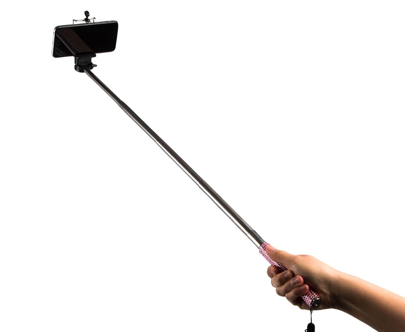 bling selfie stick with bluetooth remote pink. Black Bedroom Furniture Sets. Home Design Ideas