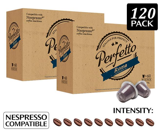 2 x perfetto roma nespresso compatible coffee capsules 60pk. Black Bedroom Furniture Sets. Home Design Ideas