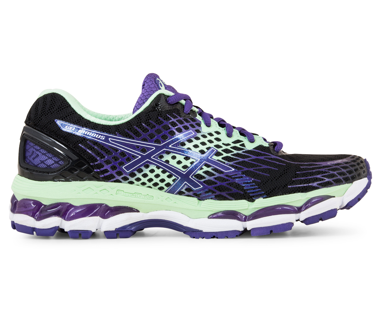 asics gel kayano 17 onyx/purple/mint