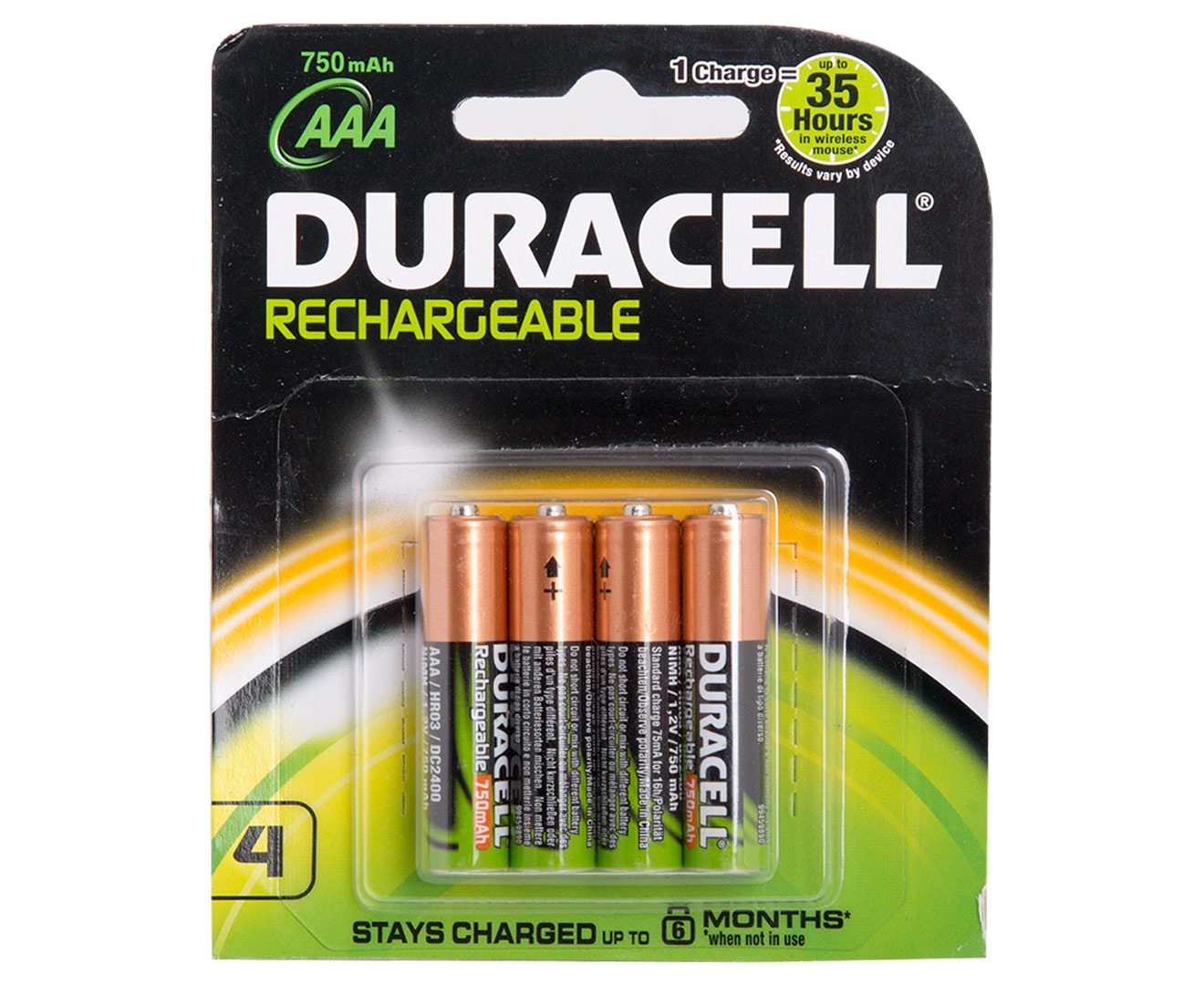 duracell aaa rechargeable batteries 4pk ebay. Black Bedroom Furniture Sets. Home Design Ideas