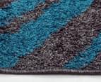 Aztec Diamond 330x240cm Rug - Grey/Peacock Blue 3