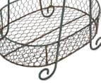 Two-Tier A-Frame Oval Wire Basket - Teal/Grey 5