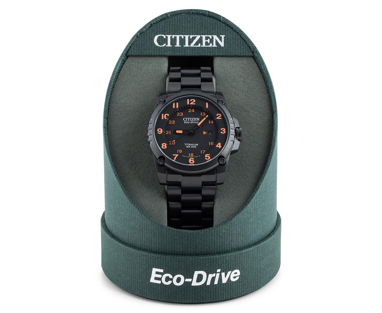 Citizen men 39 s eco drive titanium diver 39 s watch black orange - Citizen titanium dive watch ...