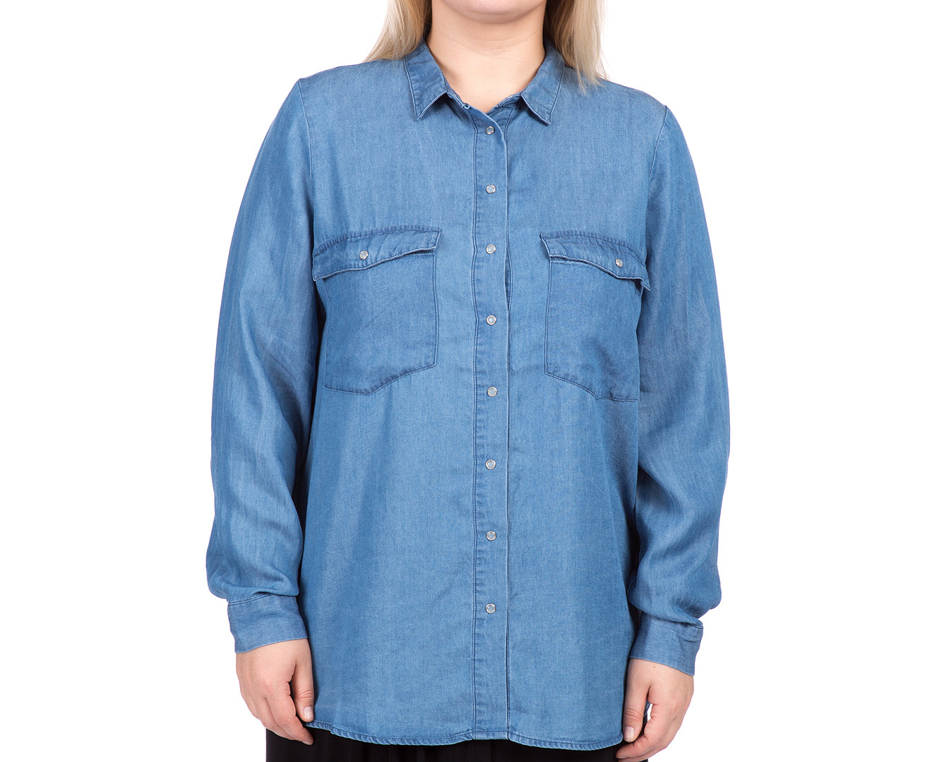 17 sundays women 39 s plus size for Blue chambray shirt women s
