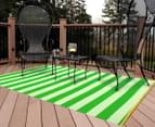 Striped 180x120cm Recycled Outdoor Rug - Green/White 2