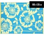 Floral 180x120cm Recycled Outdoor Rug - Blue/White 1