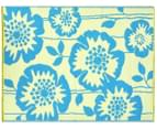 Floral 180x120cm Recycled Outdoor Rug - Blue/White 2