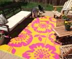 Floral 180x120cm Recycled Outdoor Rug - Orange/Pink 3