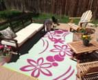 Flower 240x150cm Recycled Outdoor Rug - Pink/White 4