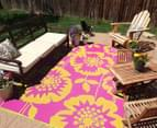 Floral 240x150cm Recycled Outdoor Rug - Orange/Pink 4