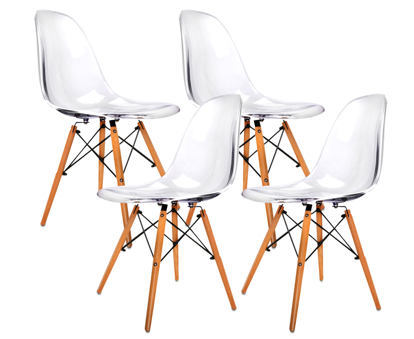 Set Of 4 Replica Eames Eiffel DSW Dining Chairs Clear