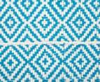 Diamond 80x50cm Hand-Loomed Rug - Blue/White 6