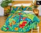 Retro Home Tropica King Bed Quilt Cover Set - Green 1
