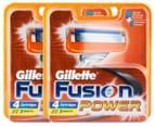 2 x Gillette Fusion Power Cartridges 4pk 1