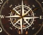 XXL Marine Compass Clock w/ Rope - Brown 3