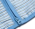 Purebaby Far Away 0.5 Tog Muslin Sleeping Bag - Blue Stripe 5
