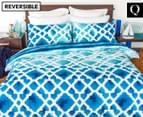 Apartmento Cayo Reversible Queen Quilt Cover Set - Blue 1