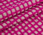 WAM Harrison Square 152x127cm Acrylic Throw w/ Fringe - Pink 2