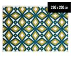 Diamonds 290x200cm Indoor/Outdoor Rug - Blue/Citrus 1