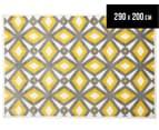 Diamond, Circle & Star 290x200cm Indoor/Outdoor Rug - Yellow 1