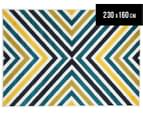 X-Factor 230x160cm Indoor/Outdoor Rug - Peacock Blue/Navy/Yellow/White 1