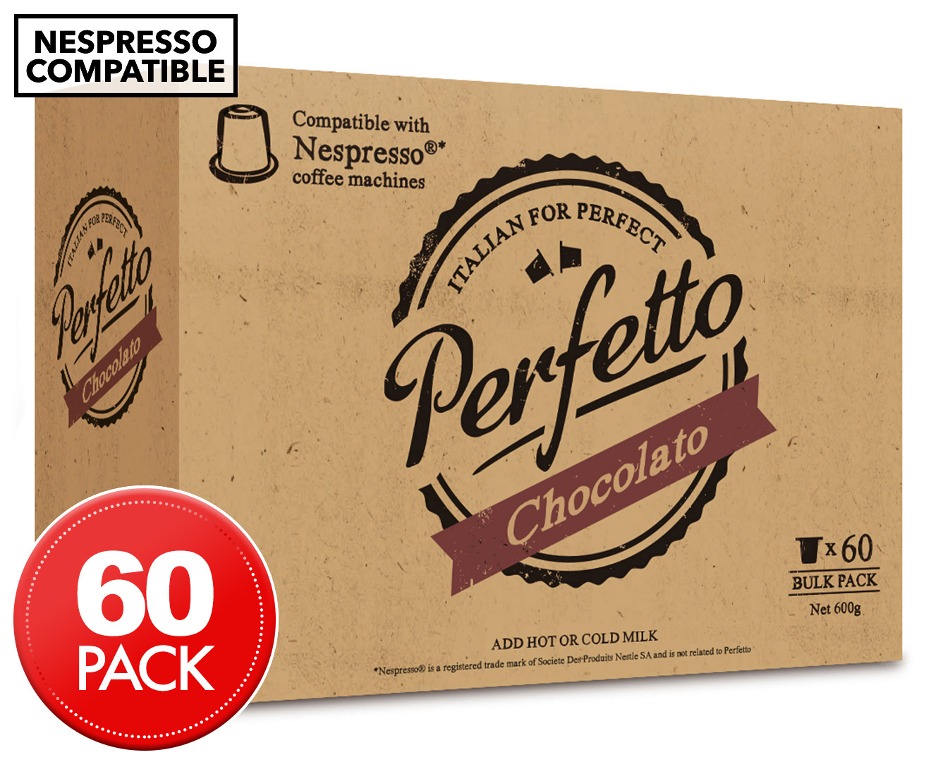perfetto nespresso compatible hot chocolate capsules 60pk ebay. Black Bedroom Furniture Sets. Home Design Ideas