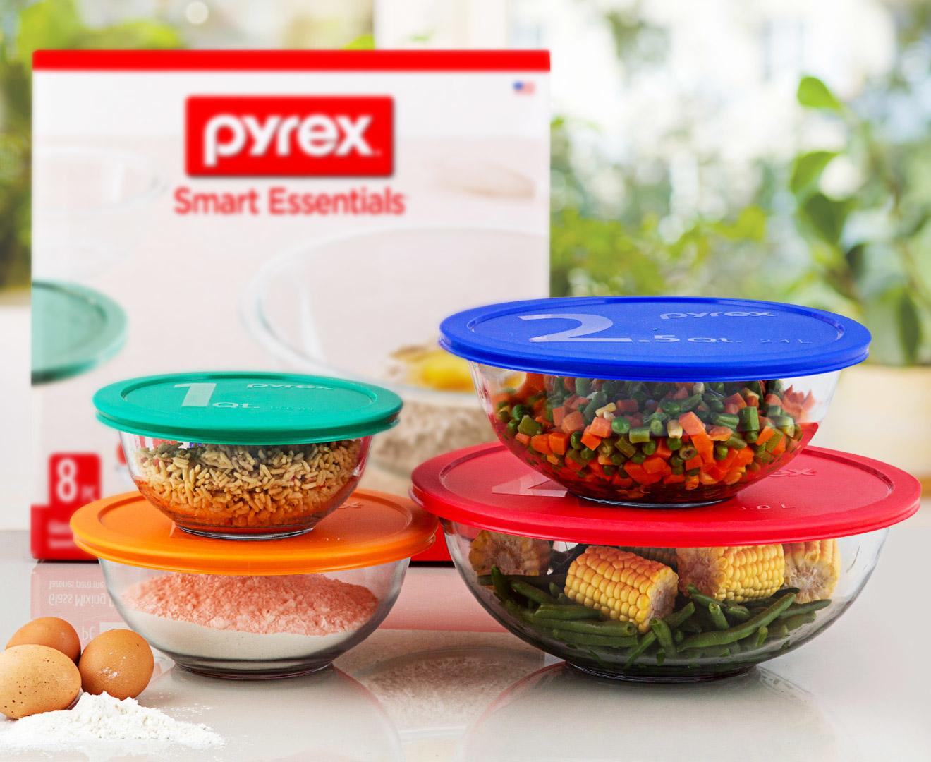 pyrex 8 piece glass mixing bowl set ebay. Black Bedroom Furniture Sets. Home Design Ideas