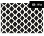 Lattice 225x155cm Pure Wool Flatweave Rug - Black 1