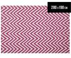 Chevron 280x190cm Reversible Rug - Pink 1