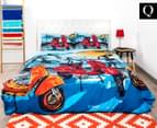 Retro Home Scooter Queen Bed Quilt Cover Set - Blue 1