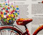 Red Bicycle w/ Flowers & Newspaper 80x62cm Oil Painting Canvas Wall Art 4