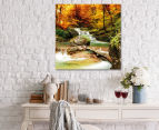 Orange Waterfall Boulder 75x75cm Canvas Wall Art 2