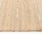 Soft Metallic 220x150cm Handmade Jute & Leather Rug - Natural 3